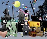 baggy_shorts bandage bandages bazooka bikini_top bird blonde_hair blue_eyes book boots bow castle dragon fishing_rod flat_chest flying_paper glasses grin guitar gun hair_bow instrument kagamine_rin kamui_gakupo midriff moon noroi_no_megane_(vocaloid) paper ponytail purple_hair short_hair shorts smile speaker steamroller television traffic_light treasure_chest vase vocaloid weapon yoko_(kokoneko) yoko_(pixiv61314)