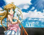 1280x1024 air blonde_hair blue_eyes dinosaur hair_ribbon kamio_misuzu long_hair ningen_(artist) ponytails ribbon skirt sky stairs stuffed_animal wallpaper