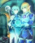 armor blonde_hair blue_hair door elf fantasy key kirishima_satoshi long_hair magic multiple_girls original pointy_ears short_hair staff thigh-highs thighhighs treasure_chest