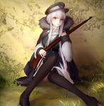 1girl absurdres bangs black_cloak black_dress black_footwear black_hat black_jacket black_legwear bolt_action boots closed_mouth collared_shirt commentary_request cracked_wall dress eyebrows_visible_through_hair food fur-trimmed_cloak fur-trimmed_jacket fur_trim girls_frontline grass hair_between_eyes hat head_tilt highres holding holding_food iron_cross jacket jacket_on_shoulders kar98k_(girls_frontline) long_hair long_sleeves looking_at_viewer mauser_98 military_hat object_namesake on_grass peaked_cap pleated_dress red_eyes shirt silver_hair sitting sleeves_past_wrists solo thigh-highs thigh_boots v-shaped_eyebrows very_long_hair weapon white_jacket white_shirt wide_sleeves xxiner