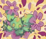commentary commission flower from_above full_body glitchedpuppet green_skin looking_at_viewer maractus no_humans orange_background petals pokemon pokemon_(creature) pokemon_(game) pokemon_bw signature solo spikes yellow_background yellow_eyes