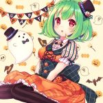 1girl :o black_bow black_hat black_legwear blush bow braid brooch corset crown_braid flower_knight_girl ghost green_hair halloween hat houzuki_michiru jack-o'-lantern jewelry looking_at_viewer mini_hat mini_top_hat open_mouth orange_skirt pepo_(flower_knight_girl) polka_dot red_eyes short_hair skirt solo striped striped_legwear thigh-highs top_hat vertical-striped_legwear vertical_stripes
