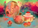 cake commission cookie cupcake eating eyelashes food fruit glitchedpuppet happy heart lying multicolored multicolored_background no_humans on_back pokemon pokemon_(creature) pokemon_(game) pokemon_rse signature solo strawberry trapinch