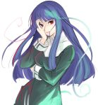 1girl asagami_fujino aura blue_hair breasts commentary_request copyright_request eyebrows_visible_through_hair habit hair_in_mouth hand_on_own_face hand_over_eye hand_up kara_no_kyoukai large_breasts long_hair long_sleeves looking_at_viewer nun red_eyes simple_background smile solo tetsu_(kimuchi) upper_body white_background