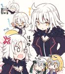+++ 0_0 3girls :d ahoge bangs bell beni_shake black_dress black_jacket blonde_hair blush blush_stickers bow breasts capelet cleavage commentary_request dress eyebrows_visible_through_hair face_painting fate/grand_order fate_(series) flying_sweatdrops fur-trimmed_capelet fur-trimmed_jacket fur_trim green_bow green_ribbon hagoita hair_between_eyes hair_bow hanetsuki headpiece jacket jeanne_d'arc_(alter)_(fate) jeanne_d'arc_(fate) jeanne_d'arc_(fate)_(all) jeanne_d'arc_alter_santa_lily medium_breasts multiple_girls open_mouth paddle parted_lips purple_capelet ribbon silver_hair smile striped striped_bow striped_ribbon translation_request v-shaped_eyebrows white_background white_capelet wicked_dragon_witch_ver._shinjuku_1999 yellow_eyes