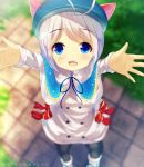 1girl :d animal_hat antenna_hair bangs black_legwear blue_capelet blue_hat blurry blurry_background blush boots bow capelet cat_hat chinomaron commentary_request day dennou_shoujo_youtuber_shiro depth_of_field eyebrows_visible_through_hair fang from_above hat highres long_sleeves looking_at_viewer looking_up open_mouth outdoors outstretched_arms pantyhose reaching_out red_bow shiro_(dennou_shoujo_youtuber_shiro) silver_hair smile solo standing standing_on_one_leg striped twitter_username vertical_stripes white_coat white_footwear