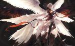 1boy armor closed_eyes demon_horns fingerless_gloves gloves granblue_fantasy highres horns lucifer_(shingeki_no_bahamut) male_focus multiple_wings seraph shingeki_no_bahamut short_hair smile uwro white_hair wings