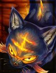 angry cat creature endivinity face from_above litten looking_up no_humans pokemon pokemon_(creature) pokemon_(game) pokemon_sm realistic solo watermark web_address whiskers yellow_eyes