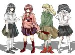4girls black_skirt blonde_hair braid brown_hair collared_shirt commentary_request ebak0 extra_arms green_eyes grey_eyes grey_hair holding holding_knife knife long_hair long_sleeves looking_at_viewer looking_back madotsuki monoe monoko multiple_girls one_eye_closed pale_skin pink_shirt pleated_skirt poniko ponytail shirt short_sleeves skirt smile standing twin_braids twintails uboa white_background yume_nikki