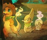 aqua_eyes axew charmander claws closed_mouth commentary cowboy_hat creature fangs fire fushigi_no_dungeon glitchedpuppet grass grey_skin hands_together hat legs_apart litwick looking_away looking_up mike_(pmd-explorers) neckerchief no_humans open_mouth orange_skin outdoors pokemon pokemon_(creature) pokemon_fushigi_no_dungeon purple_fire signature smile standing water yellow_eyes