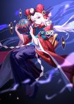 1girl absurdres ball blue_eyes bow doumeki_(onmyoji) eyeball hair_ornament highres japanese_clothes kimono long_hair low_ponytail mole mole_under_eye onmyoji sandals solo white_hair yyb