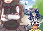 2girls :> armadillo_ears armadillo_tail armor blue_hair blush brown_hair deerstalker elbow_pads giant_armadillo_(kemono_friends) gloves hands_on_own_chest hat highres kemono_friends long_hair moose_(kemono_friends) moose_ears multiple_girls pleated_skirt scarf sekiguchi_miiru short_sleeves skirt sparkle sweater sweater_vest vest