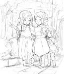 3girls arulumaya braid bush casual contemporary dress granblue_fantasy greyscale harbin highres long_hair monochrome multiple_girls outdoors pointing pointing_forward pointy_ears sketch skirt socks toriudonda tree twintails