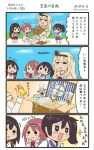 >:) +++ 4koma 6+girls akagi_(kantai_collection) ark_royal_(kantai_collection) bell blonde_hair braid brown_hair comic commentary_request crown dress fairy_(kantai_collection) food french_braid hair_between_eyes hairband highres hiyoko_(nikuyakidaijinn) holding holding_bell japanese_clothes kaga_(kantai_collection) kantai_collection long_hair long_sleeves mini_crown multiple_girls musical_note off-shoulder_dress off_shoulder open_mouth quaver red_ribbon redhead ribbon short_hair side_ponytail smile speech_bubble tasuki thigh-highs tiara translation_request twitter_username v-shaped_eyebrows warspite_(kantai_collection) white_dress white_legwear