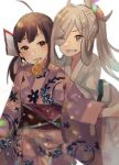2girls ahoge asashimo_(kantai_collection) bent_over bow brown_hair eyebrows_visible_through_hair eyes_visible_through_hair fujinami_(kantai_collection) fur_trim green_eyes hair_bow japanese_clothes kantai_collection kimono long_sleeves looking_at_viewer mouth_hold multiple_girls obi one_eye_closed pink_kimono protected_link rinto_(rint_rnt) sash silver_hair simple_background smile standing white_background white_kimono yellow_eyes