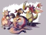 absurdres alternate_color claws commentary commission creature drooling eating egg fangs flygon flying fushigi_no_dungeon glitchedpuppet grey_background highres kecleon lying miltank neck_ribbon no_humans not_shiny_pokemon on_back pk_(pmd-explorers) pokemon pokemon_(creature) pokemon_fushigi_no_dungeon red_ribbon ribbon shadow tied_hair white_background