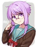 1girl adjusting_eyewear ai_kusunoki bangs bespectacled cardigan closed_mouth cosplay eyebrows_visible_through_hair glasses head_tilt highres kita_high_school_uniform long_sleeves nagato_yuki nagato_yuki_(cosplay) number open_cardigan open_clothes over-rim_eyewear purple_hair red_ribbon ribbon school_uniform semi-rimless_eyewear serafuku short_hair_with_long_locks sidelocks smile solo suzumiya_haruhi_no_yuuutsu twitter_username two-tone_background upper_body violet_eyes vocaloid voiceroid yuzuki_yukari