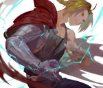 1boy ahoge bangs belt black_shirt blonde_hair blue_pants braid cape clenched_teeth denim edward_elric electricity fullmetal_alchemist gloves grey_gloves jeans male_focus mechanical_arm pants parted_bangs red_cape shirt single_glove solo teeth yamakawa yellow_eyes