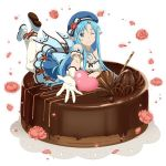 1girl ;) asuna_(sao-alo) blue_eyes blue_hair blue_hat blue_ribbon breasts cake choker cleavage dress flower food full_body gloves hat hat_flower hat_ribbon legs_up long_hair lying medium_breasts on_stomach one_eye_closed outstretched_arm pantyhose petals pointy_ears red_flower ribbon short_dress simple_background smile solo sword_art_online very_long_hair white_background white_gloves white_legwear