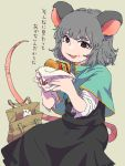 1girl ananna animal_ears bag black_eyes black_skirt blush_stickers bread_bun brown_eyes capelet cheese food food_on_face food_wrapper grey_hair hamburger hamster highres holding holding_food lettuce licking_lips medium_hair mouse_ears mouse_tail nazrin open_mouth short_sleeves skirt tail tan_background tomato tongue tongue_out touhou translation_request wrapper