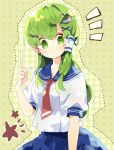 1girl alternate_costume alternate_outfit finger_pointing_up frog_hair_accessory green_eyes green_hair hair_accessories kochiya_sanae long_hair looking_at_viewer necktie school_uniform seifuku skirt star touhou