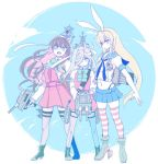 3girls anchor aqua_neckwear arm_grab asashimo_(kantai_collection) black_hair black_neckwear blonde_hair blue_eyes blue_sailor_collar blue_skirt blue_sky boots bow bowtie breasts closed_mouth collared_shirt cross-laced_footwear dress elbow_gloves fangs frown full_body gloves grey_eyes grey_hair gun hachimaki hair_between_eyes hair_over_one_eye hairband halterneck hand_on_another's_arm headband hiro_(srso4_) holding holding_weapon kantai_collection lace-up_boots long_hair long_sleeves looking_at_viewer machinery miniskirt multicolored_hair multiple_girls naganami_(kantai_collection) neckerchief open_mouth pantyhose pink_hair pleated_skirt ponytail remodel_(kantai_collection) rigging rudder_shoes sailor_collar school_uniform serafuku shimakaze_(kantai_collection) shirt skirt sky sleeveless sleeveless_dress strap striped striped_legwear teeth thigh-highs torpedo_tubes turret two-tone_hair v-shaped_eyebrows wavy_hair weapon white_gloves white_hairband white_headband white_shirt