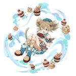 1girl ;d animal_ears blue_dress blue_footwear brown_hair brown_ribbon cake cat_ears cat_tail dress food full_body hair_between_eyes leg_ribbon long_hair one_eye_closed open_mouth red_eyes ribbon short_dress short_sleeves silica_(sao-alo) simple_background smile solo striped sword_art_online tail twintails vertical-striped_dress vertical_stripes white_background