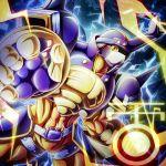armor blitzmon digimon digimon_frontier electricity gloves helmet no_humans pikkar solo upper_body yellow_eyes