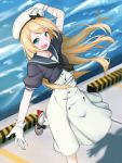 1girl blonde_hair blue_eyes blue_sailor_collar commentary_request dress feet_out_of_frame gloves hat highres holding holding_hat jervis_(kantai_collection) kantai_collection long_hair looking_at_viewer mary_janes open_mouth pier sailor_collar sailor_dress sailor_hat shingyo shoes short_sleeves smile solo standing standing_on_one_leg water white_dress white_gloves white_hat
