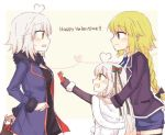 3girls ahoge anmitsu_prv arm_behind_back black_gloves blonde_hair blush bow box casual commentary_request elbow_gloves english fate/grand_order fate_(series) fur_trim gloves green_bow hair_bow happy_valentine heart heart_ahoge heart_of_string holding holding_box jacket jeanne_d'arc_(alter)_(fate) jeanne_d'arc_(fate) jeanne_d'arc_(fate)_(all) jeanne_d'arc_alter_santa_lily long_braid long_sleeves looking_at_another multiple_girls multiple_persona open_clothes open_jacket open_mouth red_bow short_hair short_shorts shorts smile striped striped_bow sweat thigh-highs valentine white_hair