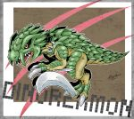 artist_name character_name claws digimon dinorexmon dinosaur dinosaur_tail fangs highres no_humans open_mouth red_eyes solo zeta_(kyokugen)