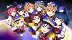 6+girls :d ;d black_hair blonde_hair blue_hair blue_hat blue_shorts blush brown_hair eyebrows_visible_through_hair floating_hair from_above gloves green_eyes grin hair_between_eyes hand_on_headwear happy_party_train hat highres kunikida_hanamaru kurosawa_dia kurosawa_ruby long_hair looking_at_viewer looking_up love_live! love_live!_sunshine!! matsuura_kanan mini_hat multiple_girls musical_note_hair_ornament necktie ohara_mari one_eye_closed open_mouth orange_hair pink_eyes purple_hair red_eyes red_neckwear redhead sakurauchi_riko shiimai short_hair short_shorts shorts sidelocks smile striped striped_shorts takami_chika tsushima_yoshiko v violet_eyes watanabe_you white_gloves yellow_eyes