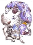 2015 claws creature endivinity facial_mark looking_at_viewer no_humans orange_eyes pokemon pokemon_(creature) pokemon_(game) pokemon_bw purple_hair realistic simple_background tied_hair traditional_media white_background yellow_eyes zoroark zorua