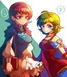 2girls artist_request bare_shoulders blue_eyes blush book breasts cape cosplay dress fire_emblem fire_emblem:_rekka_no_ken fire_emblem:_seima_no_kouseki fire_emblem_heroes green_hair hairband jewelry long_hair lute_(fire_emblem) multiple_girls nino_(fire_emblem) purple_hair short_hair skirt smile twintails violet_eyes