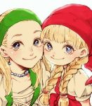 2girls ashinamaturi blonde_hair blue_eyes cheek-to-cheek dragon_quest dragon_quest_xi earrings hairband hat jewelry long_hair looking_at_viewer multiple_girls necklace senya_(dq11) siblings sisters veronica_(dq11)