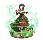 1girl black_eyes black_hair box breasts brown_dress brown_footwear brown_gloves cleavage detached_sleeves dress faux_figurine frilled_dress frills full_body gloves green_ribbon hair_ornament heart holding holding_box kirigaya_suguha large_breasts layered_dress leg_ribbon looking_at_viewer one_leg_raised ribbon short_hair sleeveless sleeveless_dress smile solo standing standing_on_one_leg striped striped_ribbon sword_art_online white_legwear