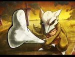 bone clouds commentary creature full_body hexed holding holding_bone letterboxed marowak perspective planted_sword planted_weapon pokemon pokemon_(creature) pokemon_(game) pokemon_rgby realistic serious standing sword tail twilight weapon yellow_eyes