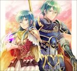 1boy 1girl aqua_hair armor blue_eyes blue_hair blush brother_and_sister cape eirika ephraim fire_emblem fire_emblem:_seima_no_kouseki fire_emblem_heroes gloves green_hair kro long_hair looking_at_viewer polearm short_hair siblings skirt smile spear thigh-highs weapon zettai_ryouiki