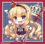 1girl :d azur_lane bangs blonde_hair blue_background blue_eyes blush border bow chibi commentary crown drill_hair eyebrows_visible_through_hair fang gloves hair_bow hairband heart holding looking_at_viewer mini_crown open_mouth queen_elizabeth_(azur_lane) red_border smile solo suzune_rena twitter_username white_bow white_gloves