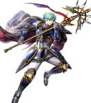 1boy armor armored_boots bangs blue_eyes boots cape elbow_pads ephraim fire_emblem fire_emblem:_seima_no_kouseki fire_emblem_heroes full_body gauntlets green_hair highres holding holding_weapon looking_away male_focus mayachise official_art pants parted_lips polearm short_hair shoulder_armor shoulder_pads solo transparent_background weapon