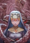 1girl closed_eyes closed_mouth commentary creepy cross cross_necklace double_(skullgirls) extra_eyes facing_viewer habit hair_between_eyes headdress jewelry necklace nun orange_hair skullgirls smile solo tentacle zakusi