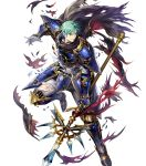 1boy armor armored_boots bangs blue_eyes boots broken_armor cape elbow_pads ephraim fire_emblem fire_emblem:_seima_no_kouseki fire_emblem_heroes full_body gauntlets green_hair highres holding holding_weapon looking_away male_focus mayachise official_art pants parted_lips polearm short_hair shoulder_armor shoulder_pads smile solo spear torn_clothes transparent_background weapon