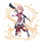 1girl brown_shorts gloves grin gun hair_ornament hairclip head_tilt holding holding_gun holding_weapon lisbeth one_knee pink_hair pink_legwear red_eyes rifle short_hair_with_long_locks short_sleeves shorts sidelocks simple_background smile solo sword_art_online weapon white_background white_gloves