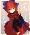 1girl black_shirt blue_bow bow cape commentary cowboy_shot hair_bow highres index_finger_raised looking_at_viewer parted_lips red_cape red_eyes red_skirt redhead rin_falcon sekibanki shirt short_hair skirt smile solo standing touhou