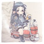 1girl :3 ahoge backpack bag bike_shorts bike_shorts_under_shorts black_hair can commentary_request crab_man entrenching_tool food garrison_cap glasses gloves goggles goggles_around_neck ground_vehicle gun hat holding holding_food military motor_vehicle original pointy_ears rifle rifle_on_back sandwich scooter short_hair_with_long_locks shorts shovel sitting solo thick_eyebrows violet_eyes weapon worktool