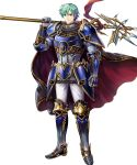 1boy armor armored_boots bangs blue_eyes boots cape clenched_hand elbow_pads ephraim fire_emblem fire_emblem:_seima_no_kouseki fire_emblem_heroes full_body gauntlets green_hair highres holding holding_weapon looking_at_viewer male_focus mayachise official_art over_shoulder pants polearm short_hair shoulder_armor shoulder_pads smile solo spear standing transparent_background weapon weapon_over_shoulder