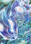 blue_skin endivinity kyogre pokemon_(creature) primal_kyogre red_eyes solo traditional_media