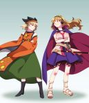 2girls belt black_footwear blonde_hair blue_skirt boots breasts buttons cape chahora_(siki_dos) cleavage cosplay costume_switch crossed_arms detached_sleeves earmuffs full_body gradient gradient_background green_skirt hat highres large_breasts long_hair matara_okina matara_okina_(cosplay) multiple_girls pointy_boots sandals shadow sheath shirt short_hair skirt sleeveless sleeveless_shirt standing sword tabard touhou toyosatomimi_no_miko toyosatomimi_no_miko_(cosplay) weapon white_shirt yellow_eyes