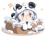 1girl ahoge animal_costume bangs blush chibi commentary_request drooling food hair_between_eyes hair_rings holding holding_spoon hood hood_up long_sleeves looking_at_viewer lying matoi_(pso2) milkpanda on_stomach open_mouth panda_costume panda_ears panda_hood panda_tail phantasy_star phantasy_star_online_2 red_eyes sidelocks silver_hair sleeves_past_fingers sleeves_past_wrists solo white_background