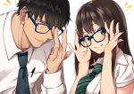 /\/\/\ 1boy 1girl absurdres adjusting_eyewear bangs bespectacled black_hair black_neckwear blue-framed_eyewear blush brown_hair closed_mouth collared_shirt eyebrows_visible_through_hair glasses green_eyes green_neckwear highres idolmaster idolmaster_cinderella_girls long_hair long_sleeves looking_at_viewer morino_shoutarou necktie pen producer_(idolmaster_cinderella_girls_anime) shibuya_rin shirt simple_background smile upper_body white_background white_shirt wing_collar